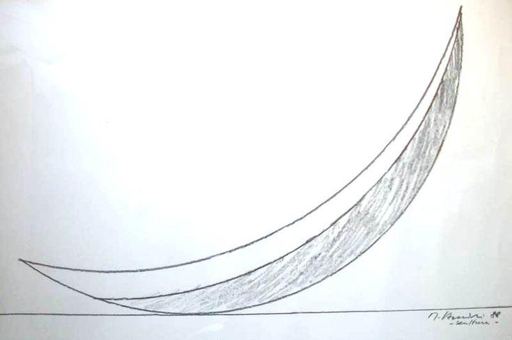 Mauro Staccioli , studio per la scultura (grande arco) presso il Parco Olimpico di Seoul 1988, cm. 54 x 74, disegno a matita su carta.