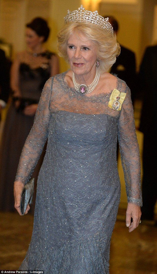 The Duchess of Cornwall's tiara was covered in hexagon shapes encrusted with large, circul...