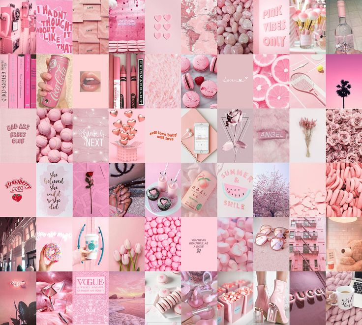 Light Pink Aesthetic Wallpaper Collage