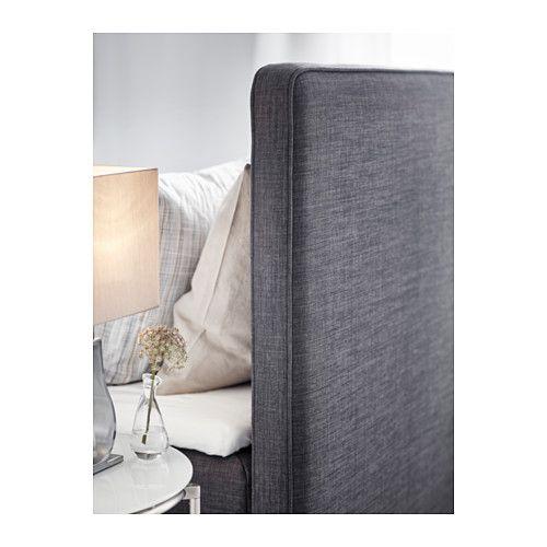 dunvik boxspringcombinatie 160x200 cm h v g stevig tuddal donkergrijs ikea bedroom. Black Bedroom Furniture Sets. Home Design Ideas
