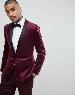 8fcba0096a6ca7 DESIGN super skinny blazer in burgundy velvet | Wedding Tux Suits ...