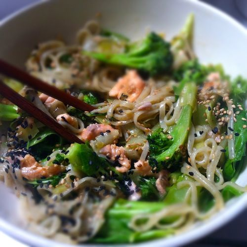 Broccoli, salmon wok with super food noodles (noodles made with green tea)!