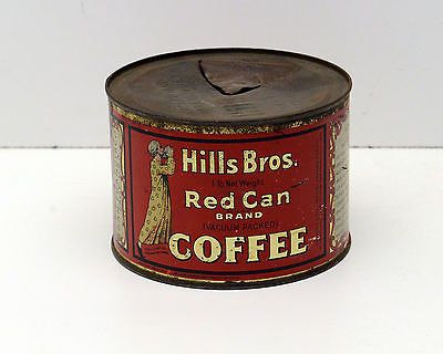 Vintage Tin Hills Brothers Coffee Red Can Brand Very OLD Rare c1922
