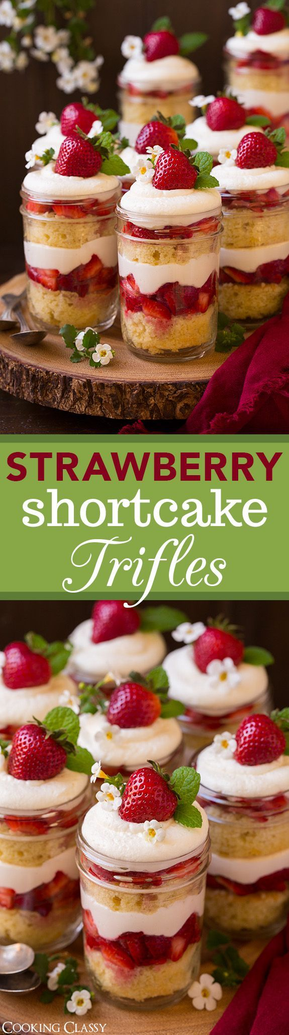 Strawberry Shortcake Trifles - this are HEAVENLY!! Can't wait to make them again! Fluffy sour cream cake, cream cheese whipped cream and sweetened strawberries.