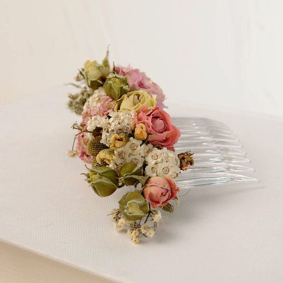 Rustic Country Dried Flower Comb, Bohemian Floral Headpiece, Natural Flower Hair Piece, Australian Head Piece, Pink Wedding Hair Comb  I just love dried flowers and these are so dainty - the perfect accessory and a great alternative to fresh flowers for your wedding.  The flowers have been dried to preserve the petals and colours. Dried flowers are a little delicate and should be handled with care just as you would handle fresh flowers. I suggest that it is best to only purchase your dried…