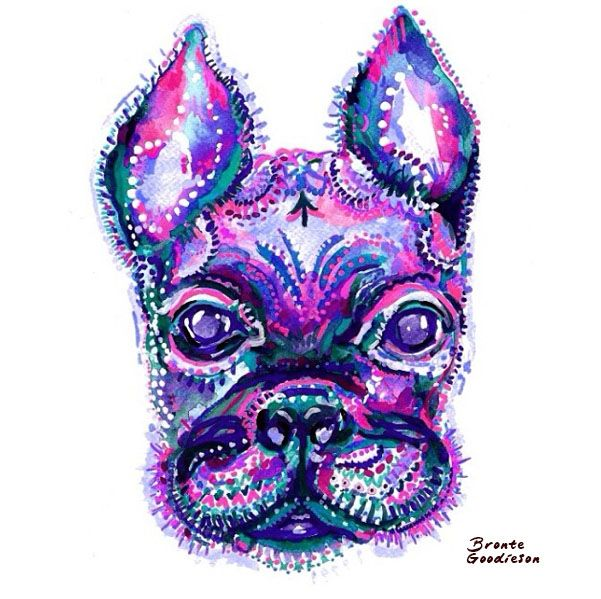 French Bulldog by Bronte Goodieson #frenchbulldog #puppy #dogportrait #cute #pup #brontegoodieson #pink #woof #pattern