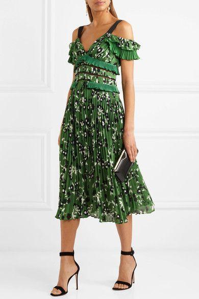 1f47b8241e21 SELF-PORTRAIT lovely Cold-shoulder lace-trimmed green floral-print plissé-crepe  dress