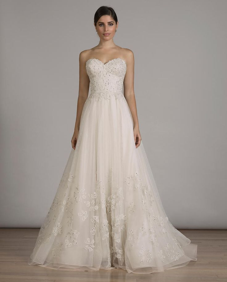 LIANCARLO blush A-line wedding dress with metal-inspired appliqués and embroidered, strapless bodice from Fall 2016   https://www.theknot.com/content/liancarlo-wedding-dresses-bridal-fashion-week-fall-2016