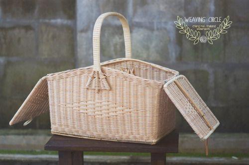 Vintage Hand-Woven Wicker Picnic Basket - WeavingCircle