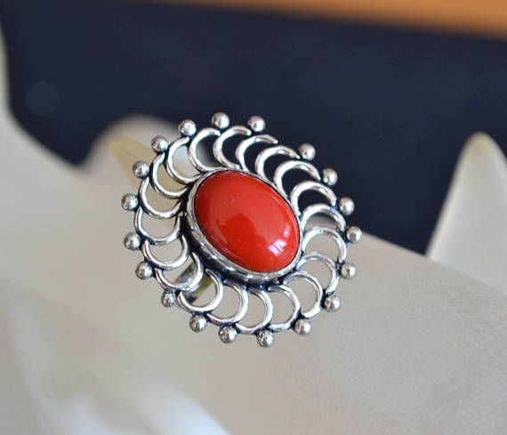 sterling silver coral ring red coral ring silver coral ring