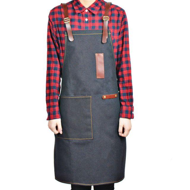 Full Length Canvas/Denim Apron w/ Leather Strap Barber Barista Florist Cafe Bistro Bar Uniform Carpenter Painter Workwear K60