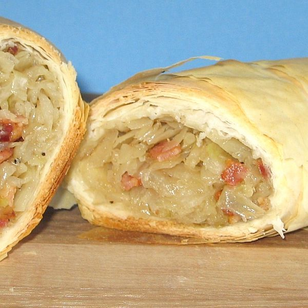 This recipe for Croatian cabbage strudel, known as strudla s kupusom, is a savory dish made with filo dough . http://easteuropeanfood.about.com/od/croatianserbmaincourses/r/cabbage-strudel.htm
