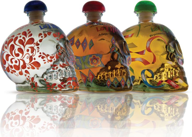 Wow, here's three of these awesome #skull #packaging #tequila bottles together PD