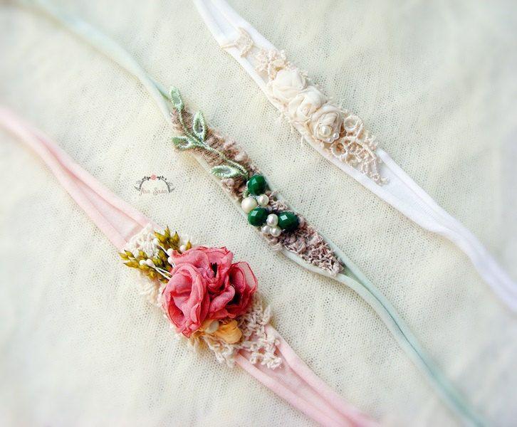 3 pieces newborn headband set, Newborn photography set, Tieback set, Photography prop set, Flower headband set by AraSASA on Etsy