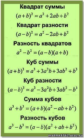 7 класс алгебра формулы сокращенного умножения