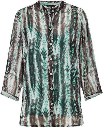 Liz Jordan Neru Print Shirt $79.95 AUD  3/4 sleeve chiffon print shirt with neru collar, includes aloe cami 100% Polyester  Item Code: 047181