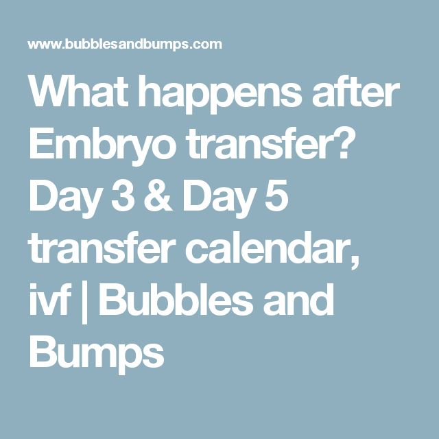 What happens after Embryo transfer? Day 3 & Day 5 transfer calendar