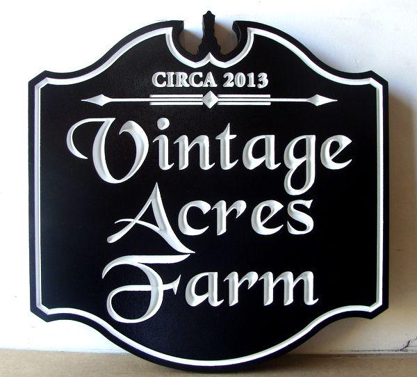 """O24014 - Engraved V-Carved  Entrance Sign, """"Vintage Acres Farm"""""""