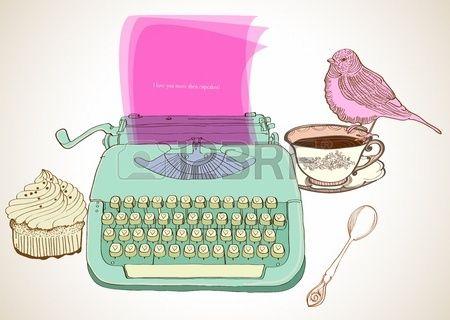 retro typewriter vintage hand drawn background for Valentine design Stock Vector