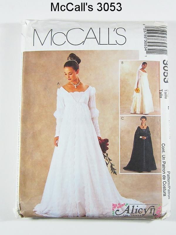 Mccalls wedding dress pattern 3053 misses 39 renaissance for Wedding dress patterns mccalls