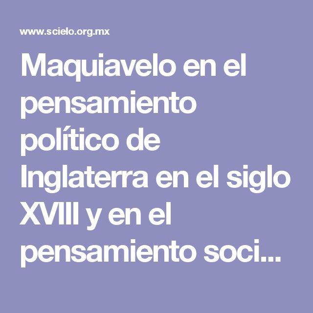 Maquiavelo en el pensamiento político de Inglaterra en el siglo XVIII y en el pensamiento social de Bernard Mandeville