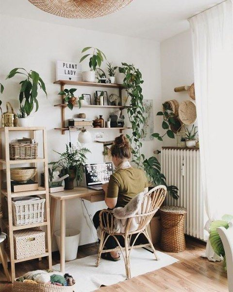 عکس طراحی اتاق کار با استفاده از گیاهان
