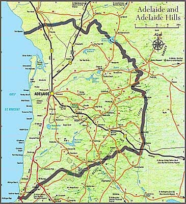 Lovely map of Adelaide and the Adelaide Hills. From www.adhills.com.au