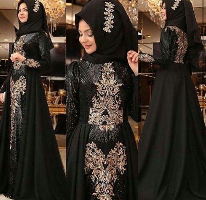 Pinar Sems Gunes Dress Black 290 Dolars You can order message or 05533302701 whatsapp #modaufkuhijab