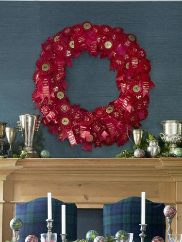 Join the winner's circle with a homemade wreath made of vintage horse show ribbons ($1.15/ribbon; ribbons galore.com).