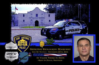 William McManus, Chief of the San Antonio Police Department in Texas sadly reports the death of Detective Benjamin Marconi.   http://www.lawenforcementtoday.com/in-memoriam-detective-benjamin-marconi/