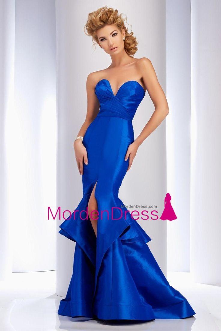 2016 New Arrival Sweetheart Ruffled Bodice Prom Dresses Mermaid Taffeta