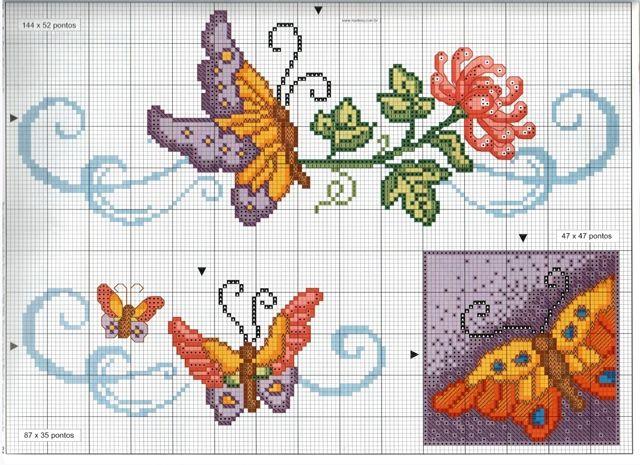 1000 images about mariposas en punto de cruz on pinterest for Farfalle punto croce schemi