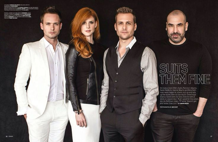 These guys deserve an Emmy! The show deserves an Emmy! Suits stars: Patrick J. Adams, Sarah Rafferty, Gabriel Macht & Rick Hoffman.