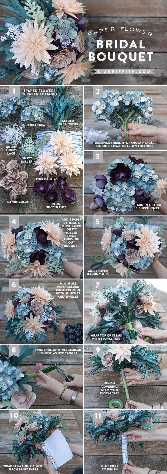 Paper flower bridal bouquet tutorial @LiaGriffith.com