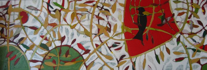 'Stormbird' 2013 Ivonne Mace acrylic mixed media on canvas 185cm x 85 cm.Sold