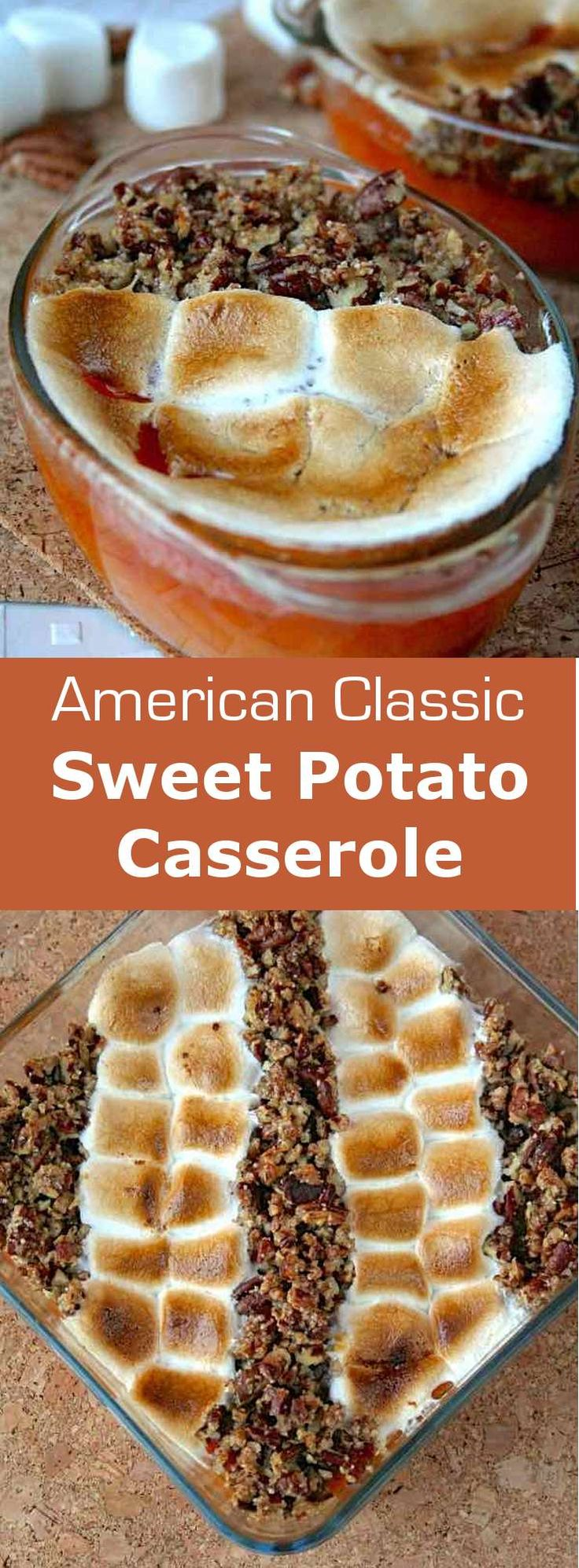 Discover the authentic and traditional Thanksgiving recipe of sweet potato casserole: mashed sweet potatoes, marshmallows and candied pecans. #american #unitedstates #thankgsiving #196flavors