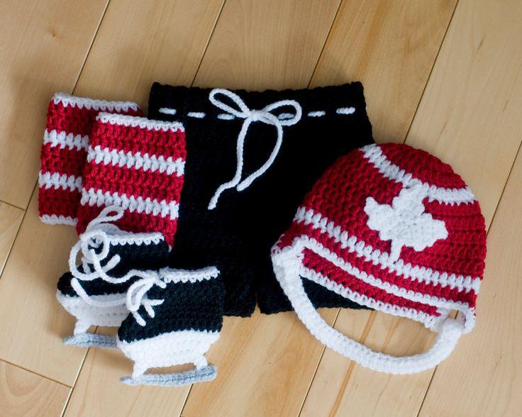 MAPLE LEAF HOCKEY Grandmabilt Crochet Hockey, Baby Boy Hockey, Team Canada…