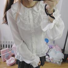 Mori Blanco Elegante Camisa de Cuello Peter Pan Para Las Mujeres Chica Japonesa Linda Lolita Gasa Blusas Camisas de Encaje Dulce Femenina de Muy Buen Gusto(China (Mainland))