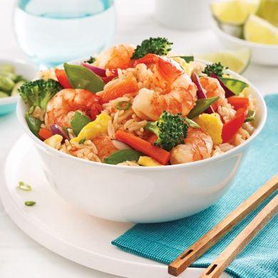 Riz frit aux crevettes - Soupers de semaine - Recettes 5-15 - Recettes express 5/15 - Pratico Pratique