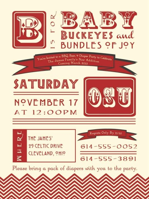 Vintage Baby Shower / Birthday Party Invitations-vintage, antique, baby shower, birthday, invitation, ohio state, college, university