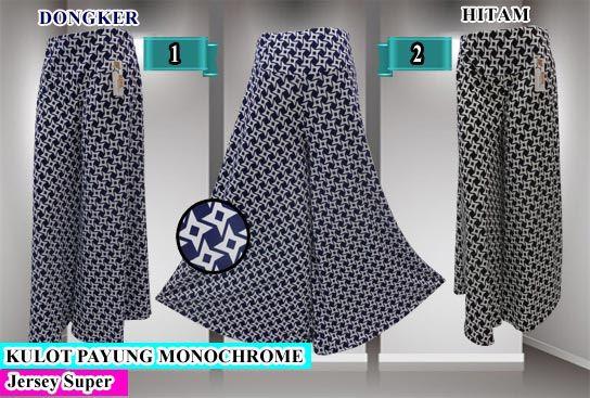 Celana kulot model payung motif monochrome