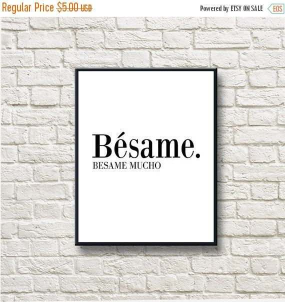 50%OFF Besame mucho Black White Printable Instant by DNgraphics