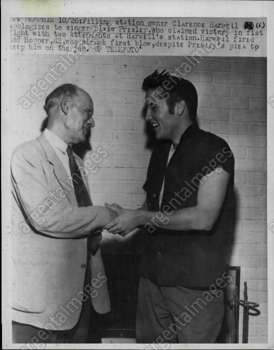 Clarence Harwell was the owner of a downtown Memphis filling station where singer Elvis was involved in a fight on Thursday, October 18, 1956 he, showed up at Elvis home the following Thursday (10/25/56) to apologize for the incident. Elvis was cleared in City Court of misconduct, but two station attendants with whom he tangled briefly drew fines for assault and battery
