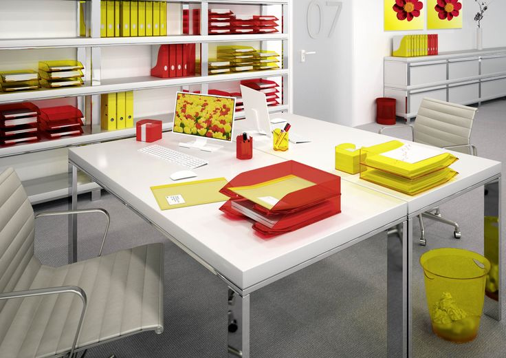 Sunshine colours for your office. Surround yourself with vibrant, warm colours which enhance your working environment. Did you know that colours can affect your mood? For example, yellow improves your concentration and red gives you energy.
