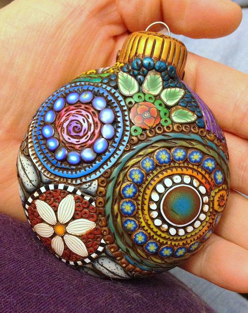 polymer clay covered glass ornament