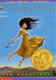 """In a historical fiction format, """"Esperanza Rising"""" by Pam Muñoz Ryan is suitable for grade level 6-7. It is the story of Esperanza and Mamma who flee from post-revolutionary Mexico to California and settle in a camp for Mexican migrant workers. Students will learn about Mexico, the Mexican Revolution, the Great Depression, migrant workers, and labor camps by reading this novel. (Lisa M.)"""