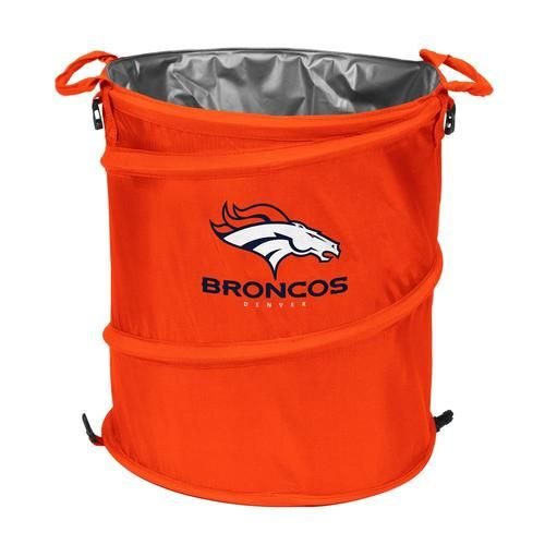 NFL Football collapsible trash can, cooler, laundry hamper. This Denver Broncos merchandise is perfect for tailgating. It's heavy nylon and lining make it a versatile product that can be used as a tra