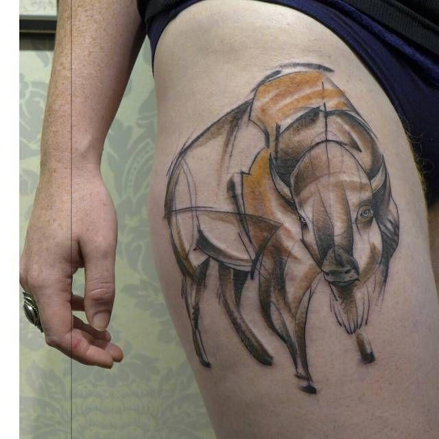 Sketch work style buffalo tattoo on the right thigh for Tattoo buffalo ny