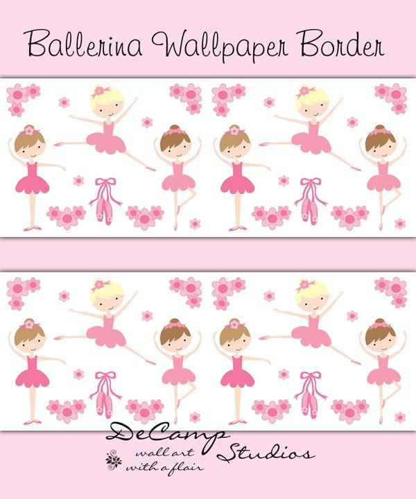 Pink Ballerina Wallpaper Border wall decals for baby girl ballet nursery or children's dance room decor #decampstudios