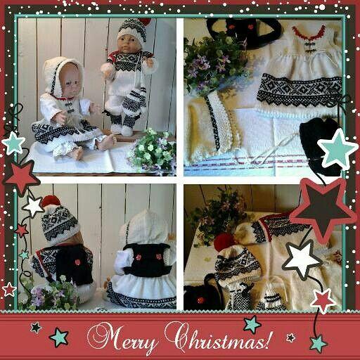 Norskinspererade dockkläder i stickade fina garner, passar dockan babyborn Finns att köpa hos lenaviola.com  JULKLAPPSTIPS  2015 VÄLKOMMEN